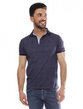 Polo Hackett Printed Polo Azul e Multicolor