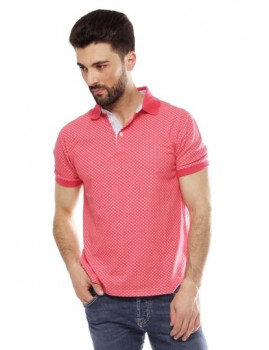 Polo Hackett Printed Polo  Coral e Cru