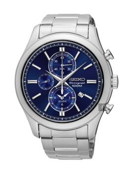 Relógio Seiko Alarme Cronógrafo Classic Prateado e Azul