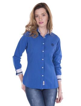 Camisa Linho Sir Raymond Tailor Cleek Azul Sax