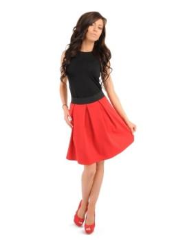 Saia plissada c/cintura elástica  Vermelho