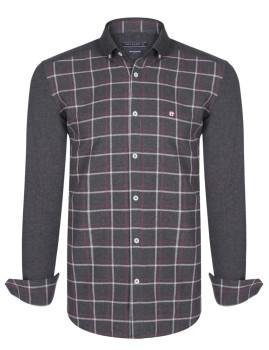 Camisa Homem Felix Hardy Cinza Escuro, Vermelho e Branco