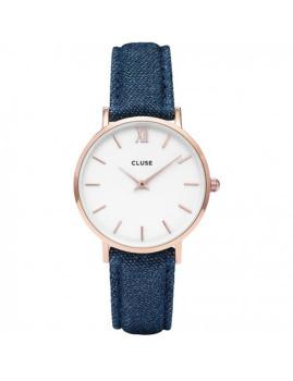Relógio Cluse La Minuit Dourado Rosa, Branco e Denim