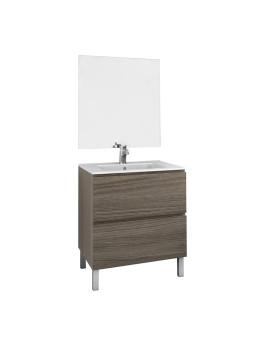 Móvel  2 Gavetas 80 cm + Espelho + Lavatório Cor Nogal