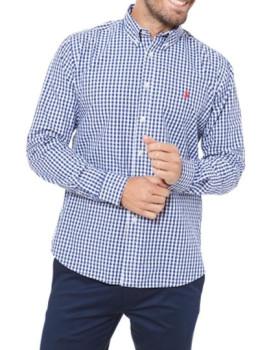 Camisa Ralph Lauren Xadrez Homem Azul Navy e Branca