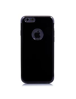 Capa em Preto Brilhante com Bordas Metalizadas Para Iphone 6/6S Preta