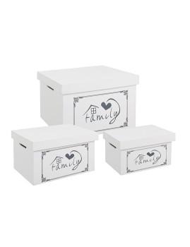 imagem de Set3 Caixas Family Retangulares Brancas4