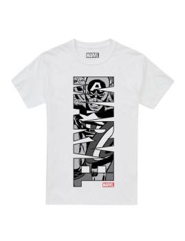 T-shirt Marvel  Captain America Vertical Branca