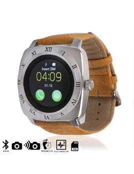 Smartwatch com Camera. Sim e Micro Sd e Alça de Pele Prateado