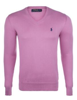 Pullover Ralph Lauren decote em V Homem Rosa e Azul Navy