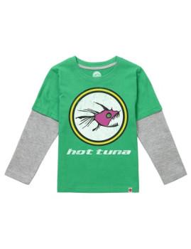 Long Sleeve Hot Tuna Logo Verde e Cinza Mesclada