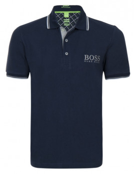 Pólo Hugo Boss Manga Curta Logotipo Azul Navy