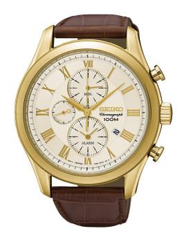 Relógio Seiko Alarm Chronograph Classic Dourado, Castanho e Cinza