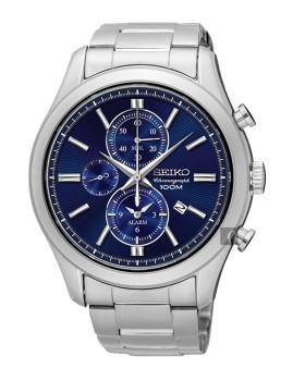 Relógio Seiko Alarm Chronograph Classic Prateado e Azul