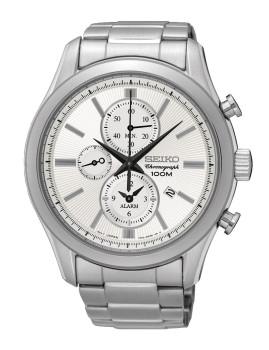Relógio Seiko Alarm Chronograph Classic Prateado e Cinza