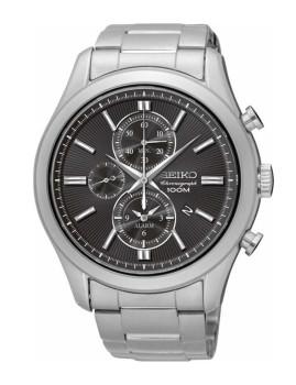 Relógio Seiko Alarm Chronograph Classic Prateado e Cinza Escuro