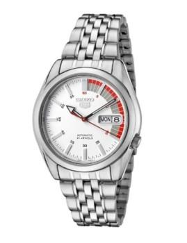 Relógio Seiko Aço Prata, Branco e Vermelho