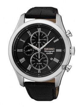 Relógio Seiko Alarm Chronograph Classic Prateado e Preto