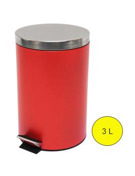 Caixote do Lixo Metálico 3L Vermelho