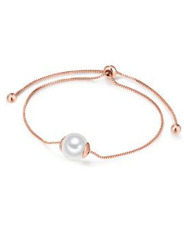Pulseira Pearls of London Pérolas Organicas Brancas Rosa Dourado