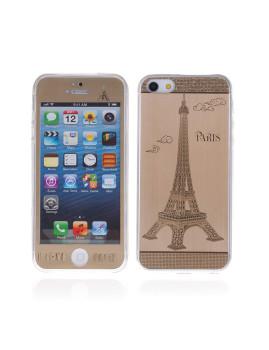 2 In 1 Vidro Temperado + Capa Gel Aluminio I Love Paris Iphone 5 Dourado