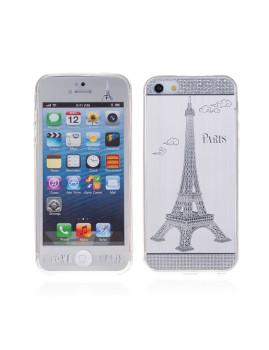 2 In 1 Vidro Temperado + Capa Gel Aluminio I Love Paris Iphone 5 Prateado
