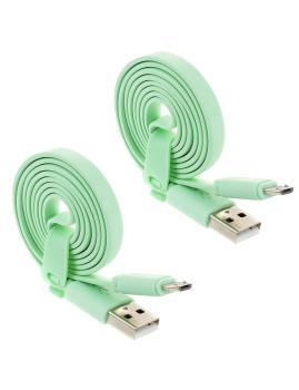 2x Cabo de Dados Plano Micro Usb Verde