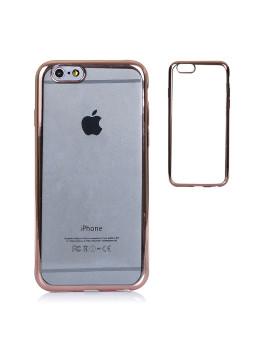 Capa Silicone Transparente e Rebordos Metalizados Iphone 6 Castanho