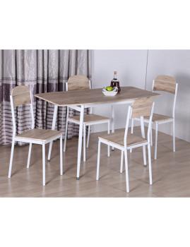 imagem de Conjunto Mesa extensível + 4 cadeiras Estoril Carvalho claro1