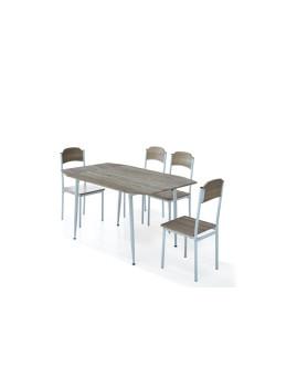 imagem de Conjunto Estoril Mesa Extensível + 4 Cadeiras  Carvalho Claro1