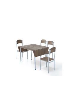 imagem de Conjunto Estoril Mesa Extensível + 4 Cadeiras  Carvalho Claro2