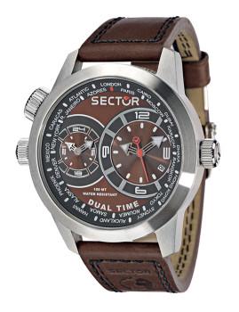 6960f337afc Relógio Sector Analógico Homem Oversize Dual Time Castanho ...