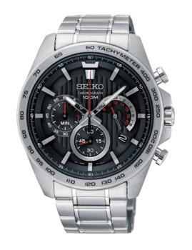 Relógio Seiko Quartz Casual Prateado e Preto Homem