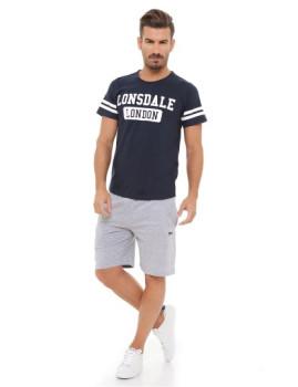 T-shirt e Calções Lonsdale Azul Escuro E Cinza Mesclado Médio