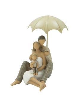 Estatueta Família Madeira Com Chapéu