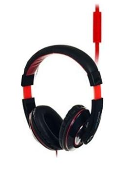 Headphones com microfone preto e vermelho