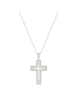 Colar Cross Prateado