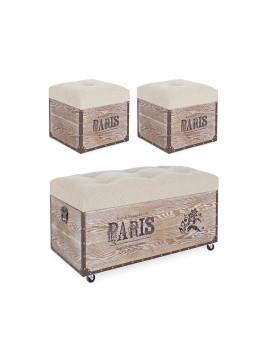 imagem de Conj. 3 Bancos Baú Travel Paris Corda1