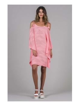 Vestido Tricot Curto Geométricos Rosa
