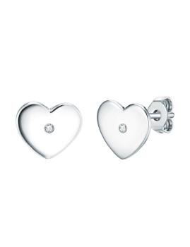 Brincos de Prata e brilhantes Heart Prateado