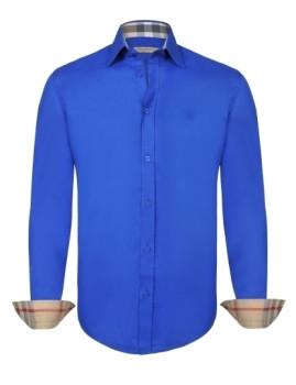 Camisa Burberry Homem Azul Sax