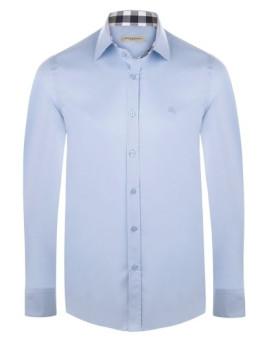 Camisa Burberry Homem Azul Claro