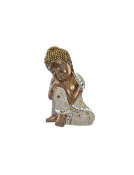 Figura Resina Cristal Buda Brilhante