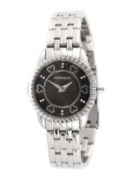 Relógio Senhora Morgan de Toi Prateado&Preto Corações
