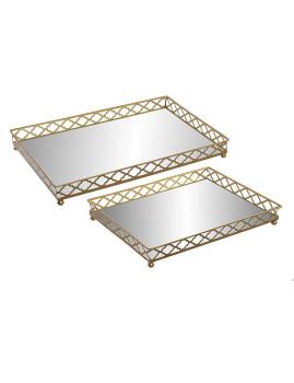 Conj. 2 Bandejas Metal Espelho 45,7X33X5,7 Dourado