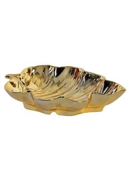 Bandeja Cerâmica Folha Brilhante Dourada