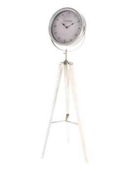 Relógio Pé Madeira Metal 38x38x114 Vintage Branco