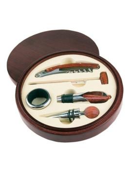 kit de acessórios de vinho em caixa de madeira