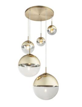 imagem de Candeeiro Suspenso Varus Transparente e Dourado1
