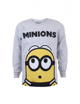 Longsleeve  Minions Up Above Cinza mesclado